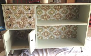 decoupage furniture paint cabinet makeover thrifted, repurposing upcycling
