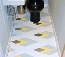 painted linoleum bathroom floor, bathroom ideas, flooring
