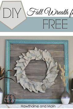 fall wreath craft newspaper cardboard free, crafts, seasonal holiday decor, wreaths
