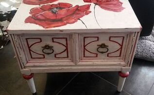 shabby chic nightstand re do with poppy art, chalk paint, painted furniture, shabby chic