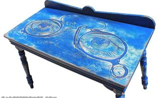custom eyeglass artwork carved table, painted furniture