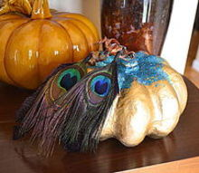 gold peacock pumpkin, crafts, decoupage, seasonal holiday decor