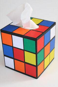rubik s cube tissue holder, crafts, decoupage