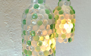 lamps wine bottle glass pebble craft, diy, home decor, lighting, repurposing upcycling