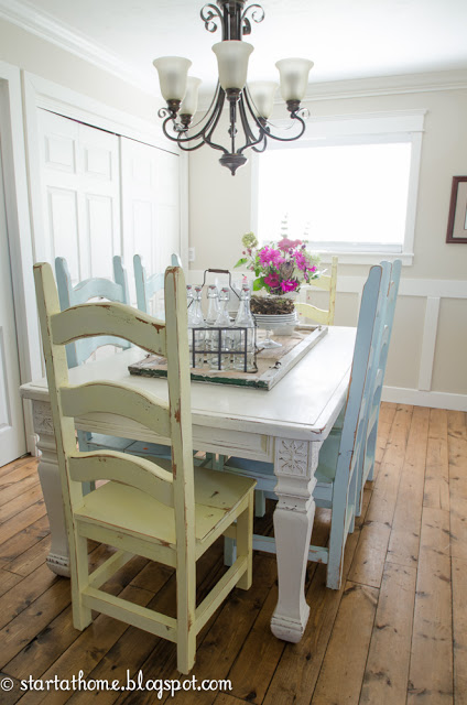 Refinished farmhouse table hometalk for Different color chairs