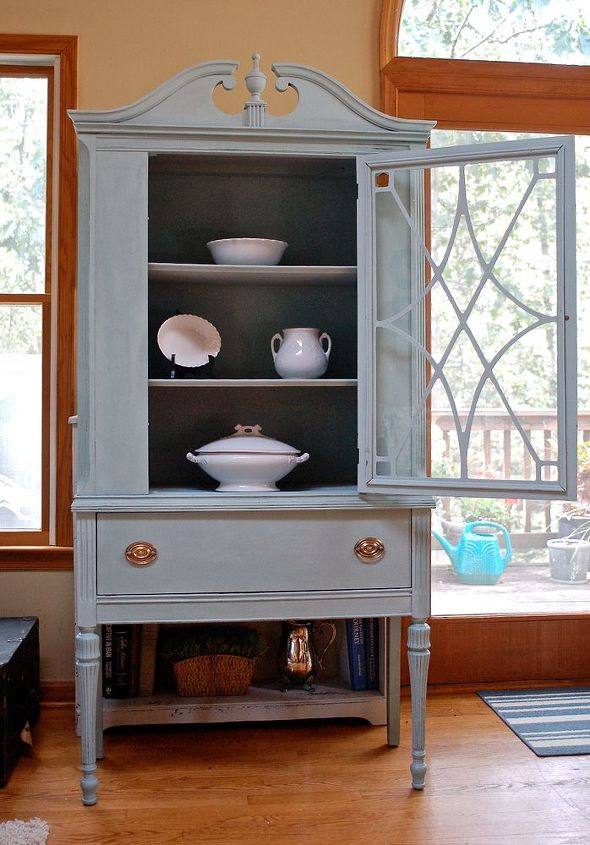 Duck egg blue china cabinet hometalk for Duck egg blue kitchen units