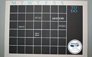 diy chalkboard calendar wall, chalkboard paint, crafts