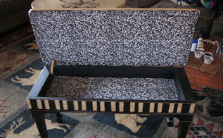 painted furniture piano bench redo salvcage, painted furniture, repurposing upcycling, I glued fabric to the inside for a finishing