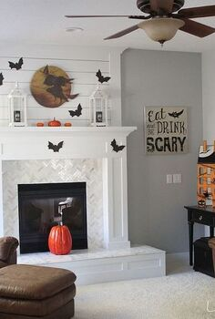 halloween decor fireplace mantel bats, fireplaces mantels, halloween decorations, living room ideas, seasonal holiday decor