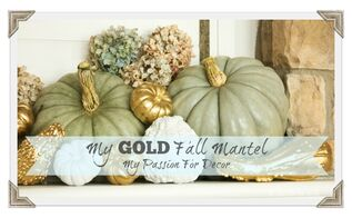 gold fall mantel decor pumpkins gourds, fireplaces mantels, living room ideas, seasonal holiday decor