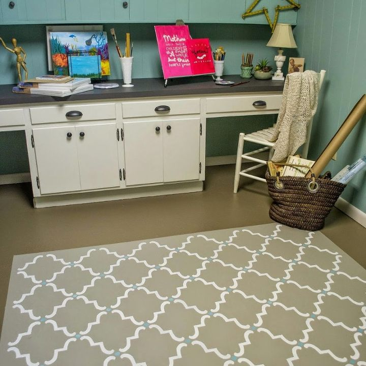 Paint your floor to look like a rug hometalk for Rugs for basement floors