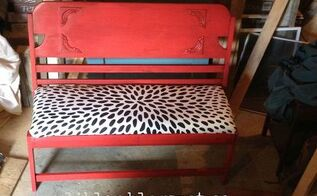 bench headboard upcycle, painted furniture, repurposing upcycling, reupholster, woodworking projects