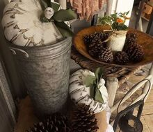 painted thrifted pumpkins fall porch decor, crafts, repurposing upcycling, seasonal holiday decor