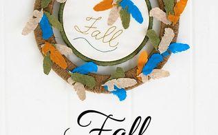 fall felt feather wreath, crafts, seasonal holiday decor, wreaths