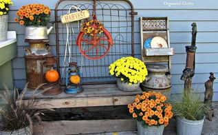 an orange pulley fall wreath more outdoor junk decor, outdoor living, repurposing upcycling, rustic furniture, seasonal holiday decor, wreaths