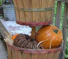 fall decor tiered bushel baskets pumpkin, repurposing upcycling, seasonal holiday decor
