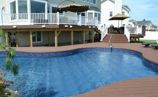 decks design pool backyard slope problem, decks, pool designs, Trex Composite Decking