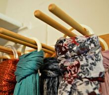 upcycled scarf organizer, closet, organizing, repurposing upcycling