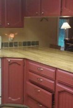 counter top remodel for 20 00, countertops, diy, Before 70 s fake wood laminate