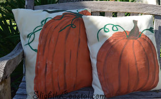 pottery barn inspired painted pumpkin pillows, crafts, outdoor living, seasonal holiday decor, reupholster