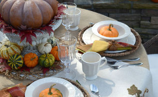 fall tablescape outdoors pumpkins white dishes, home decor, seasonal holiday decor