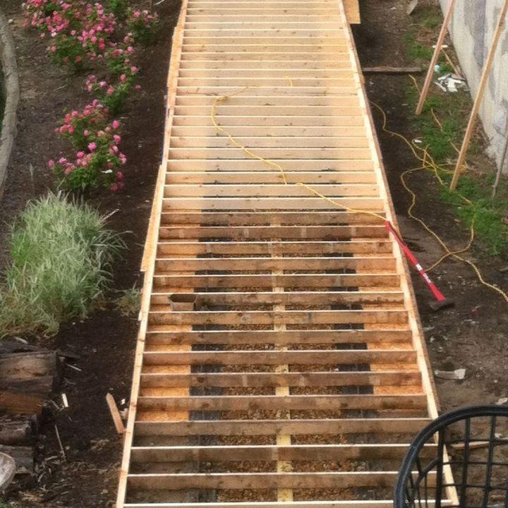 wood concrete walkway hometalk