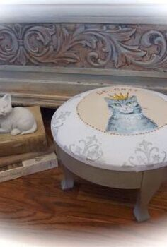painted furniture footstool kitty portrait, painted furniture, pets animals, repurposing upcycling