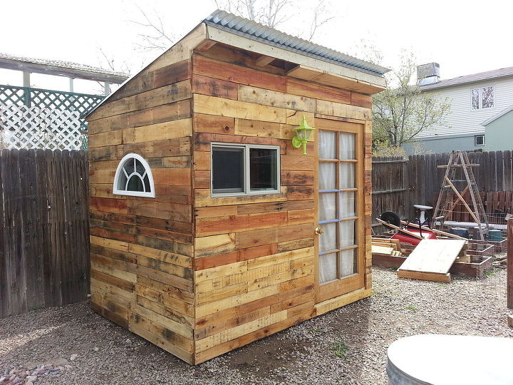 building a garden shed from pallets hometalk