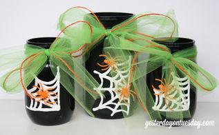 mason jar vase spider web halloween decoration, crafts, halloween decorations, mason jars, painting, repurposing upcycling, seasonal holiday decor