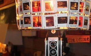 vintage camera floor lamp photo slide shade, flooring, home decor, lighting, repurposing upcycling