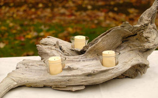 rustic furniture driftwood candle holder, crafts, home decor