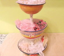 how to make enamel bowl tiered stand, home decor, how to, repurposing upcycling