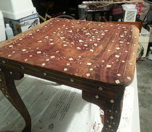 reviving antique inlaid table, painted furniture, repurposing upcycling