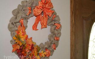 wreath burlap ribbon leaves, crafts, seasonal holiday decor, wreaths