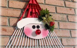 turn a old rake into jolly faced santa, christmas decorations, crafts, repurposing upcycling, seasonal holiday decor