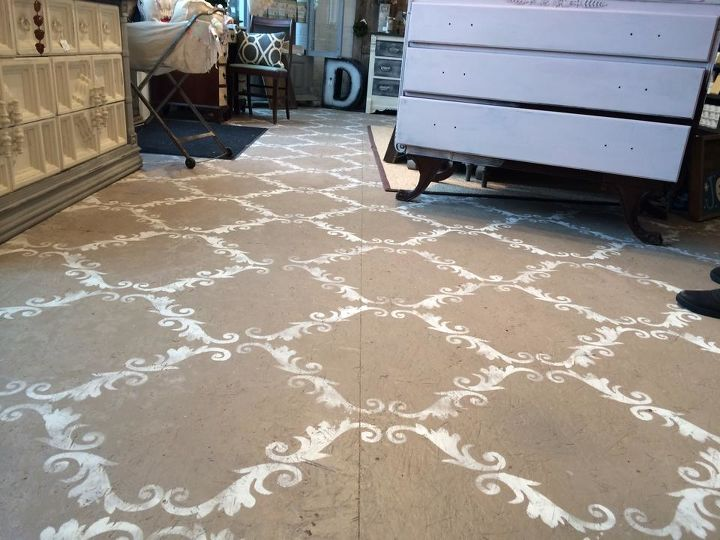 Plywood Floor Stenciled With Chalk Paint Hometalk