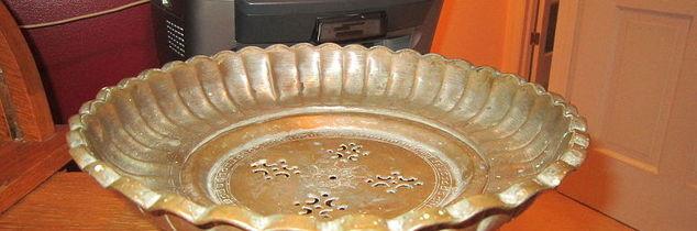 home decor antique copper pot purpose vintage, repurposing upcycling, one piece copper pot the center piece comes out