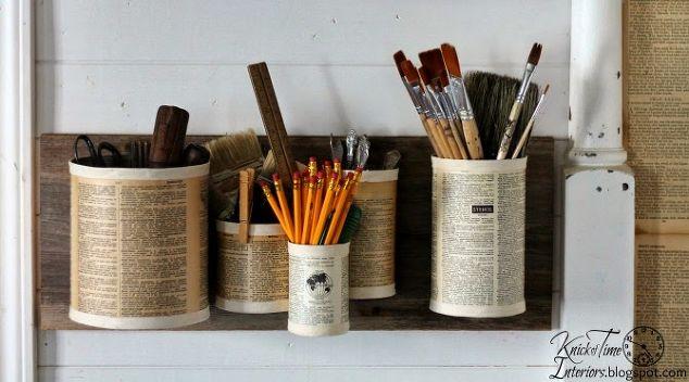 Repurposed Tin Cans Wall Organizer Home Decor Organizing Repurposing Upcycling Wall Decor