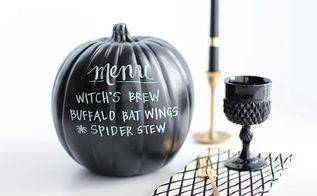 diy chalkboard menu pumpkin, chalkboard paint, crafts, halloween decorations, seasonal holiday decor, thanksgiving decorations