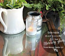 side table makeover with faux mercury glass top, painted furniture