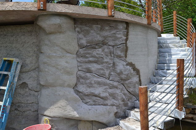 Diy Carved Vertical Concrete Retaining Wall Hometalk
