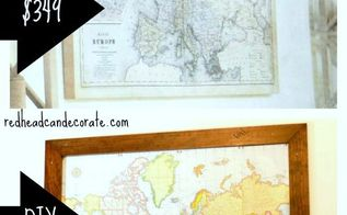 diy custom framed world map, crafts, home decor