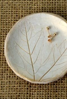 how to leaf imprinted clay dish gold, crafts, how to