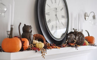 fall mantel rustic easy decor, fireplaces mantels, home decor, seasonal holiday decor