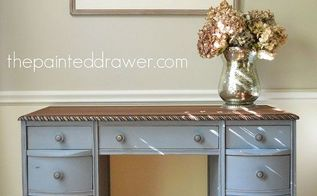 painted furniture old rope trimmed desk makeover, chalk paint, home decor, painted furniture, woodworking projects