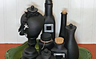halloween decorations potion bottles paint, crafts, halloween decorations, repurposing upcycling, seasonal holiday decor, Upcycled potion bottles for Halloween