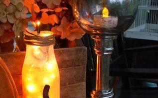 crafts mercury glass pumpkin votives, crafts, halloween decorations, seasonal holiday decor