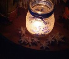 frozen jar with some blue accent, crafts, seasonal holiday decor