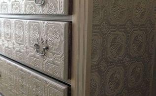 dresser makeover metallic silver paint textured wallpaper, diy, home decor, painted furniture, wall decor