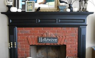 fireplace mantle simple spooky halloween, fireplaces mantels, halloween decorations, seasonal holiday decor